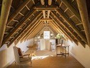 Sótão de luxo ensolarado sob telhado de madeira — Fotografia de Stock