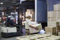 Робітників і навантажувача завантаження картонні коробки на вантажних на складі розподілу для завантаження/розвантаження — стокове фото