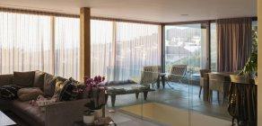 Living room in open floor plan home showcase interior — Stock Photo