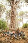 Studenti e insegnanti che si siede sull'albero in foresta — Foto stock
