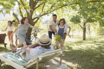 Happy caucasian Family playing together outdoors — Stock Photo