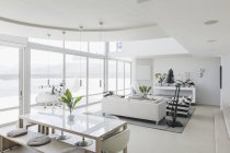 Modern luxury home showcase interior living room and dining room open plan — Stock Photo