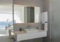 Sink in modern, luxury home showcase interior bathroom — Stock Photo