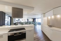 Современная роскошь дома витрина интерьер кухни — стоковое фото