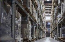 Картонные коробки с товарами, сложенные на полках на складе дистрибуции — стоковое фото