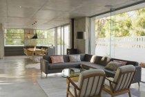 Luxe, vitrine maison moderne intérieur salon et salle à manger décloisonné — Photo de stock
