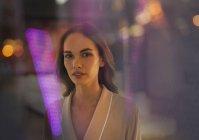 Portrait beautiful, sensual brunette woman in bathrobe — Stock Photo