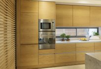 Wood cupboard in home showcase interior kitchen — Stock Photo