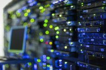 Illuminated server room panel — Stock Photo
