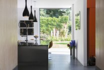 View of garden through modern kitchen window — Stock Photo