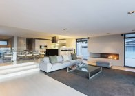 Modernes Luxus-Haus Vitrine Wohnzimmer mit Gas-Kamin — Stockfoto