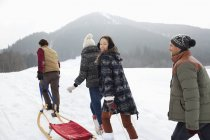 Happy friends pulling sleds in snowy field — Stock Photo