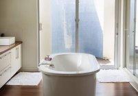 Bathtub in modern bathroom indoors — Stock Photo