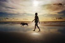 Silhouette of woman and dog walking on beach — Stock Photo