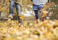 Imagem cortada de crianças andando em folhas de outono — Fotografia de Stock