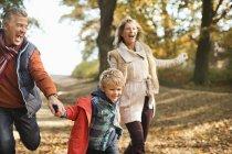 Menino feliz e avós andando no parque — Fotografia de Stock