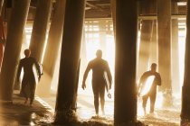 Surfistas llevando tablas debajo del muelle - foto de stock