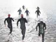 Confident and strong triathletes in wetsuits running into ocean — Stock Photo