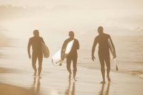 Older surfers carrying board on beach — Stock Photo
