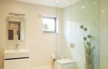 Ducha y lavabo en baño moderno - foto de stock