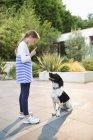Vista laterale di ragazza rimprovero cane all'aperto — Foto stock