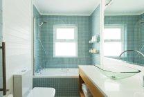 Modern bathroom indoors during daytime — Stock Photo