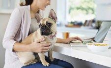 Женщина использует ноутбук с собакой на коленях — стоковое фото
