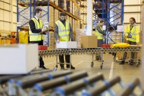 Workers checking packages on conveyor belt in warehouse — Stock Photo