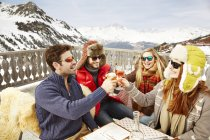 Friends celebrating with drinks in the snow — Stock Photo