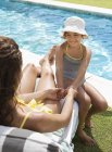 Mother and daughter sitting by swimming pool — Stock Photo