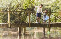 Brother and sister fishing with nets at footbridge over pond — Stock Photo