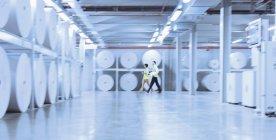 Працівників, гуляючи по великих Шпулі паперові в поліграфічний комбінат — стокове фото