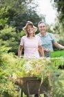 Senior couple with wheelbarrow and bucket in garden — Stock Photo