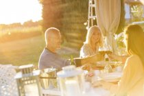 Senior couple an adult daughter toasting wine glasses at sunny patio table — Stockfoto