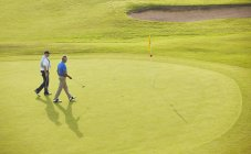 Uomini anziani che camminano verso bandiera e buco sul campo da golf — Foto stock