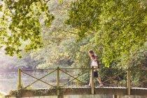 Батько і син перетину місток в парку з дерева — стокове фото