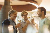 Männer Wein Verkostung Wein Weingut Degustationsraum — Stockfoto