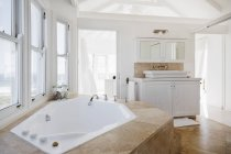 Jacuzzi tub in luxury bathroom interior — Stock Photo