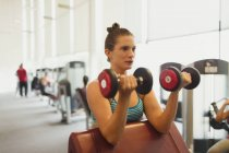 Focused woman doing dumbbell biceps curls at gym — Stock Photo