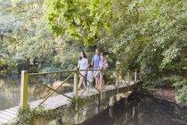 Сім'ї перетину місток в парку з дерева — стокове фото