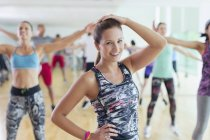 Portrait smiling woman in exercise class — Stockfoto