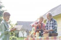 Бабуся і дідусь і онук готується продати меду — стокове фото