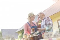 Liebevolle älteres paar Verkauf von Honig auf Bauernmarkt — Stockfoto