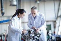 Scientifiques adultes qui travaillent en laboratoire — Photo de stock