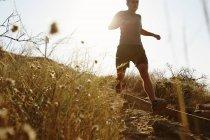 Mann läuft auf sonnigen trail — Stockfoto