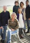 Portrait smiling multi-generation family on porch — Stock Photo