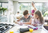 Mother watching brother and sister doing homework at kitchen counter — Stock Photo