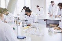 Студенты колледжа, с помощью микроскопа, проведения научных экспериментов в лаборатории — стоковое фото