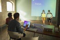 Business people preparing audio visual presentation on Focus — Stock Photo