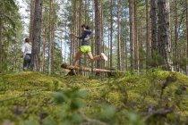 Бегун, перепрыгивая через бревну в лесу — стоковое фото